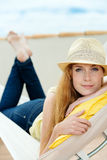 Relaxed Woman In Hammock Stock Image