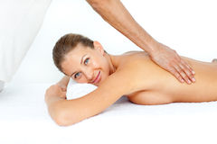 Relaxed woman having a back massage Stock Photo