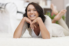 Relaxed woman at home Royalty Free Stock Photo