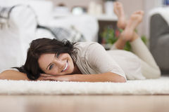 Relaxed woman at home Royalty Free Stock Image