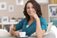 Relaxed woman at home Stock Photo
