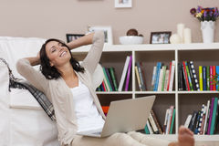 Relaxed woman at home Stock Image