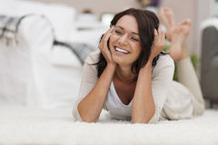 Relaxed woman at home Royalty Free Stock Images