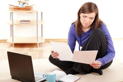 Relaxed woman with laptop Royalty Free Stock Photos
