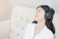 Relaxed woman listening  music Royalty Free Stock Photography