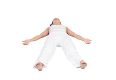 Relaxed woman lying upwards royalty free stock photography