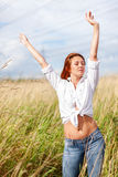 Relaxed woman outdoors Royalty Free Stock Images