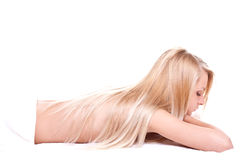 Relaxed woman on the procedures of massage Stock Photography