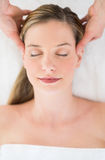 Relaxed Woman Receiving Head Massage At Health Spa Stock Images
