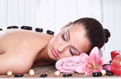 Relaxed woman receiving spa treatment Royalty Free Stock Image