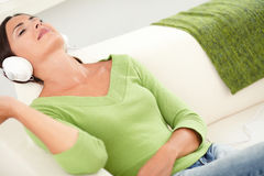 Relaxed woman resting with eyes closed Stock Photo