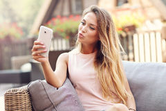 Relaxed woman resting on outdoors Stock Photography