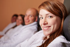 Relaxed woman smiling in health Stock Image