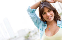 Relaxed woman smiling Stock Photography