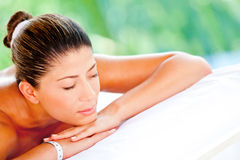 Relaxed woman at a spa Stock Photo