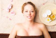Relaxed woman at spa stock images