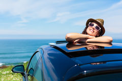 Relaxed woman on summer car vacation travel royalty free stock photo