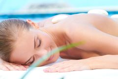 Relaxed woman taking spa treatment Stock Images