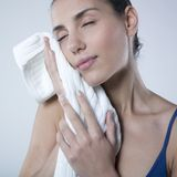 Relaxed woman with towel Royalty Free Stock Photo