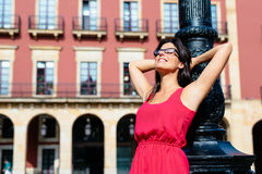 Relaxed woman on vacation in spain Royalty Free Stock Photography