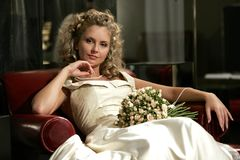 Relaxed young adult bride Royalty Free Stock Photo