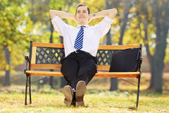 Relaxed young businessman sitting on a bench in a park Stock Photo