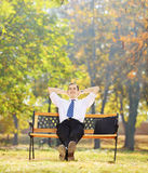 Relaxed young businessman sitting on a wooden bench in a park Royalty Free Stock Photos