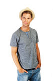 Relaxed young casual man with hat Royalty Free Stock Photo