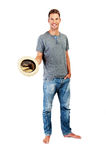 Relaxed young casual man with hat Stock Photo