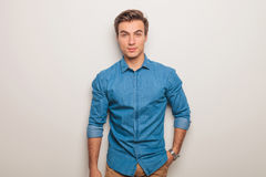 Relaxed young casual man in jeans shirt Royalty Free Stock Image