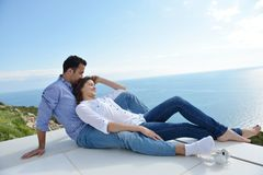 Relaxed young couple at home Stock Images