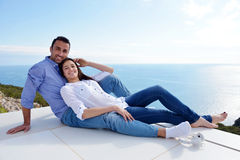 Relaxed young couple at home Stock Photography