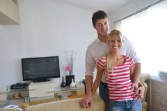 Relaxed young  couple watching tv at home Stock Image