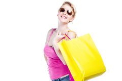 Relaxed young girl with shopping bag Stock Image