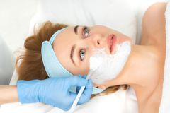 Relaxed young woman is getting facial skin care treatment at beauty salon. Beautician is touching brush with clay to face girl royalty free stock photos