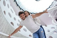 Relaxed yung couple at home  stairs Stock Photography