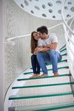 Relaxed yung couple at home  stairs Royalty Free Stock Photo