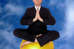 Relaxing. Business meditation.Relaxing.Sky background royalty free stock photos