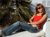 Relaxing. Young girl relaxing at summer in Majorca Stock Images