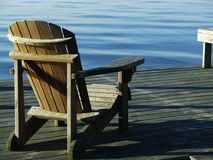 Relaxing. A relaxing view in an Adirondack chair overlooking the sound. What could be better Royalty Free Stock Photography