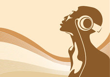 Relaxing. Abstract vector of a woman listening to music Stock Photos