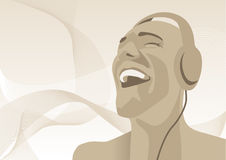 Relaxing. Abstract vector illustration of a man listening to music Royalty Free Stock Images