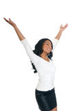 Relaxing African American Woman. In white isolated background Stock Photo