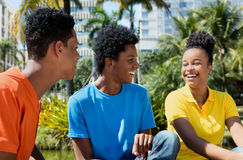 Relaxing african american young adults. Outdoor in the summer stock image