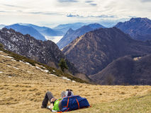 Relaxing in the alps Stock Photos
