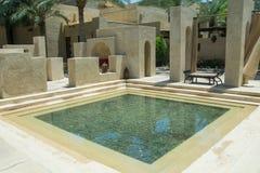 Relaxing area at luxury arabian desert resort Stock Photo