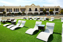 Relaxing area at luxury hotel, Sharm el Sheikh Royalty Free Stock Photos