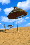 Relaxing area on sand desert Royalty Free Stock Image