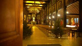 Relaxing atmosphere in old wooden church hall, place of worship, spirituality. Stock footage stock video footage