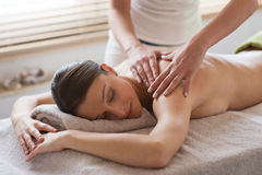 Relaxing back massage at spa Stock Photography